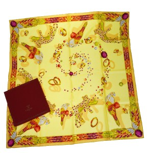 Cartier Auth must de Cartier Logos Scarf Handkerchief 100% Silk Yellow France