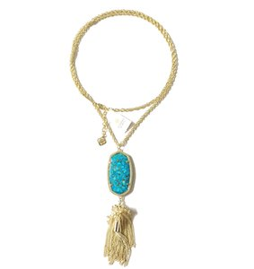 Kendra Scott Brand New Kendra Scott Rayne Necklace in Brass Veined Turquoise