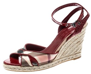 Burberry Patent Leather Canvas Red Sandals