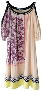 Anthropologie short dress peach Boho Beaded Embroidered Cold Shoulder Sheath on Tradesy