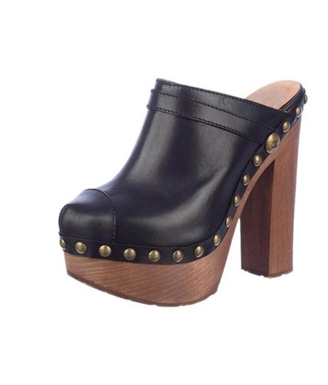 Chanel Chunky Rubber Leather Studded Black Mules Image 1