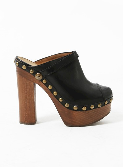 Chanel Chunky Rubber Leather Studded Black Mules Image 2