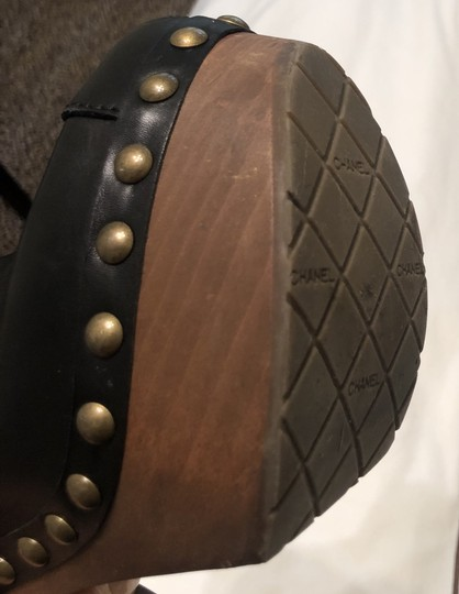 Chanel Chunky Rubber Leather Studded Black Mules Image 5