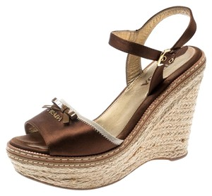 Prada Wedge Espadrille Brown Sandals