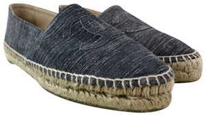Chanel Suede Espadrilles Striated Gray Flats