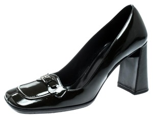 Prada Patent Leather Detail Green Pumps
