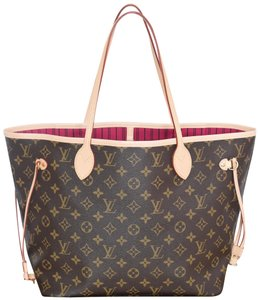 Louis Vuitton Lv Neverfull Never Full Mm Neverfull Tote in Monogram with Pink