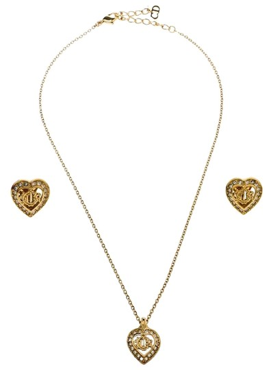Preload https://img-static.tradesy.com/item/26014861/dior-gold-crystal-studded-tone-necklace-and-earrings-set-0-3-540-540.jpg