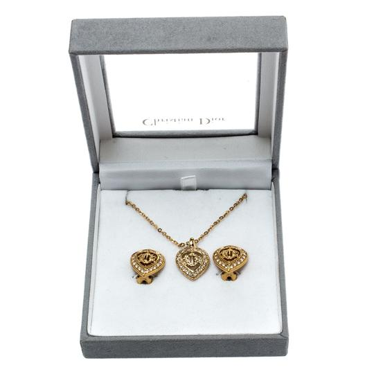 Dior Crystal Studded Gold Tone Necklace and Earrings Set Image 9
