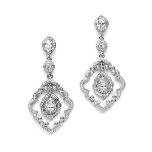 Stunning Vintage Art Deco Crystal Bridal Earrings