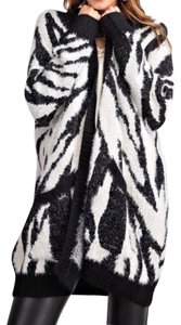 Easel Animal Print Zebra Mohair Cardigan Sweater