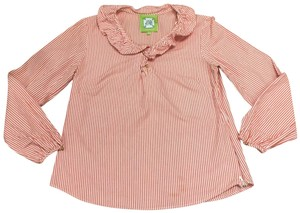 Elizabeth McKay Striped Ruffle Buttons Top Red & White