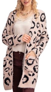 Easel Animal Print Leopard Distressed Cardigan Duster Sweater