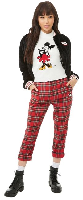 Item - Red Disney Plaid Tartan Check Mickey Mouse Pants Size 8 (M, 29, 30)