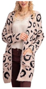 Easel Animal Print Leopard Mohair Cardigan Sweater