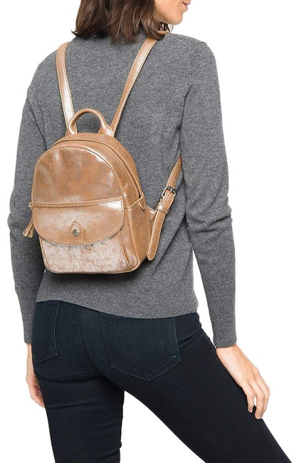Item - Melissa Mini Silver Multi Distressed Leather Bronze Nylon Backpack