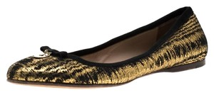 Fendi Metallic Textured Black Flats