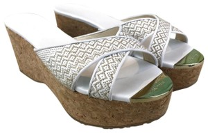 Jimmy Choo Straw Prima White Wedges