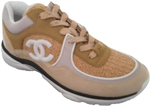Chanel Sneakers Trainers Suede Beige Athletic