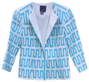 Doncaster Embroidered Lined Linen Blue & White Blazer