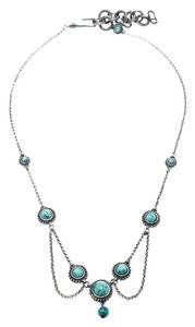Dior Turquoise Bead Embedded Antique Silver Tone Choker Necklace
