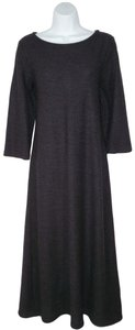 Gray Maxi Dress by Eileen Fisher Wool Crepe Charcoal Modest