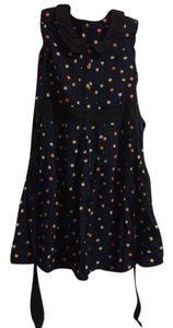 Dorothy Perkins short dress navy with peach and beige polka dots Peter Pan Collar Pleated on Tradesy