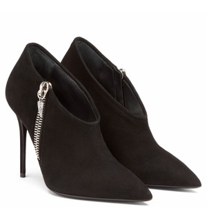 Giuseppe Zanotti Shark Tooth Crystal Side Zip Black Boots