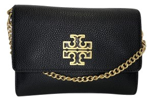 Tory Burch Pebbled Leather Leather Britten Crossbody Shoulder Bag