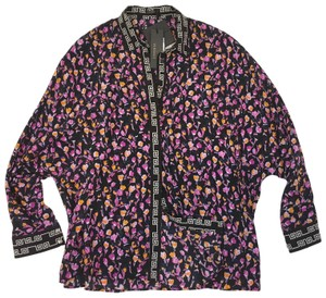 Versace Logo Silk Floral Oversized Top multi