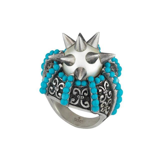 Item - Blue Women's Silver Metal with Spikes Beads 425194 Size 5.5 Ring