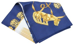"Hermès HERMES Scarf 100% Silk ""LES CAVALIERS D'OR"" Navy Yellow White Color"