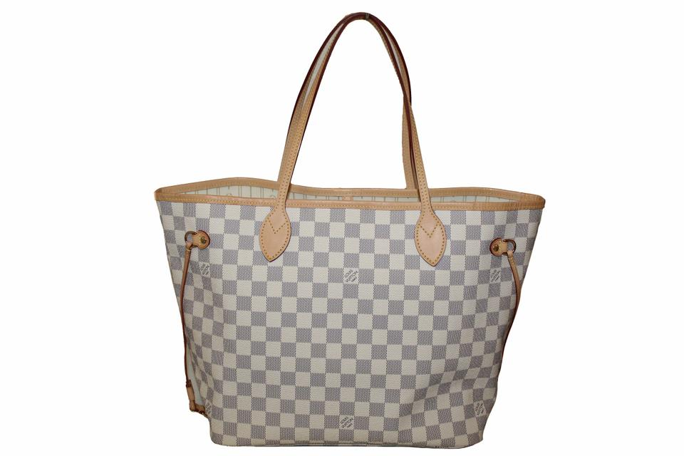 Louis Vuitton Shoulder Bag Neverfull Mm White Damier Azur Canvas Tote