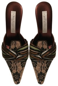 Olivia Rose Tal Pump Lace Vintage Striped Metallic Beige black bronze multi Mules