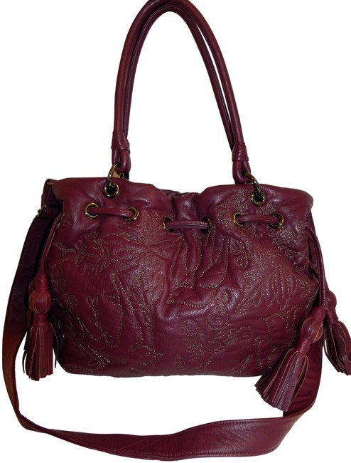 Item - Quilted Drawstring Large Shoulder Purple Leather Cross Body Bag
