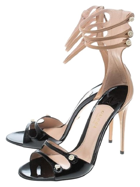 Item - Black/Pink Apricot Two Tone Leather Mother Of Pearl Button Ankle Strap Sandals Size EU 40 (Approx. US 10) Regular (M, B)