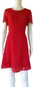 J.Crew short dress Red Lace Short Sleeves Fit N Flare on Tradesy