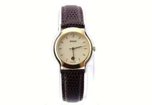 Gucci Vintage Gucci 8000.2L Brown Gold Stainless Steel Leather Womens Watch
