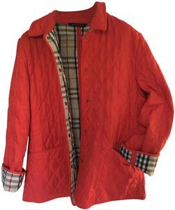 Burberry Quilted Nova Check Red Jacket