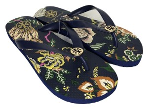 Tory Burch Rubber Flip Flop Thong Montauk Navy/Happy Times Sandals
