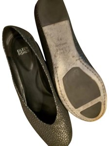 Eileen Fisher Excellent Condition Unique Charcoal Grey Metallic Flats