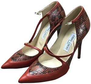 Jimmy Choo Cross Strap Snakeskin Detail Red Pumps