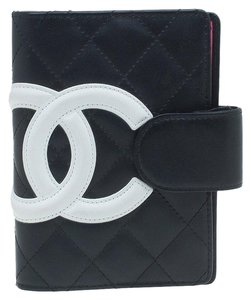 Chanel Chanel Cambon Quilited Agenda Black with White CC