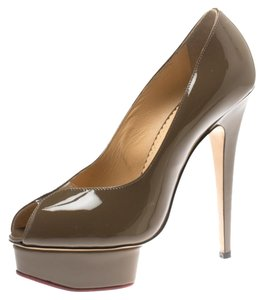 Charlotte Olympia Leather Peep Toe Platform Green Pumps