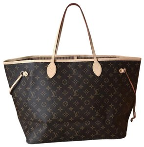 Louis Vuitton Neverfull Tote in Multi ( Monogram / Beige )