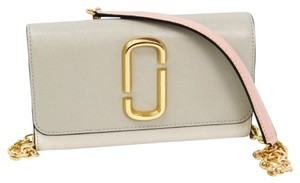 Marc Jacobs Marc Jacobs Snapshot M0014284 Women's Embossed Leather Chain/Shoulder Wallet Grayish,Ivory,Light Pink