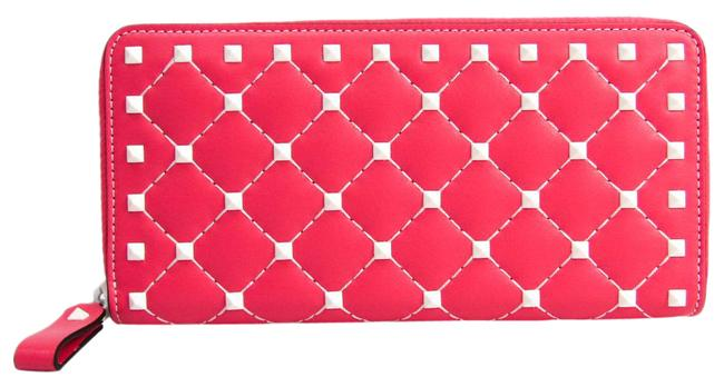 Item - Pink Calfskin Rock Stud Zip-Around Long Wallet