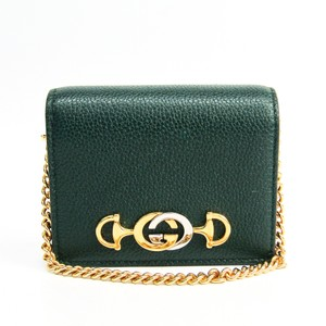 Gucci Gucci Zumi 570660 Leather Card Case Green