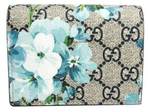 Gucci Gucci GG Blooms GUCCY Logo 524965 Leather GG Supreme Card Case Blue,Navy,White