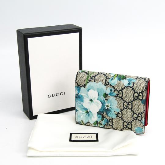 Gucci Gucci GG Blooms GUCCY Logo 524965 Leather GG Supreme Card Case Blue,Navy,White Image 9